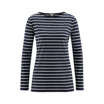 HILLARY Dámské tričko s dlouhými rukávy z modalového a sojového vlákna - tmavě modrá ink (proužek)