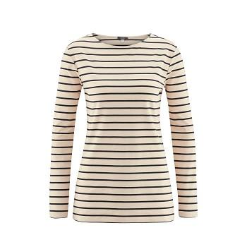 HILLARY Dámské tričko s dlouhými rukávy z modalového a sojového vlákna - béžová (proužek)