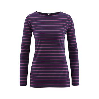 HILLARY Dámské tričko s dlouhými rukávy z modalového a sojového vlákna - švestková (proužek)