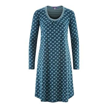 DIANA Dámská noční košile s dlouhými rukávy ze 100% biobavlny - modrý vzor petrol