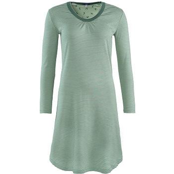 DIANA Dámská noční košile s dlouhými rukávy ze 100% biobavlny - modrý proužek petrol