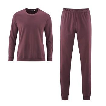 BOB pánské pyžamo pyžamo ze 100% biobavlny - fialová burgundy