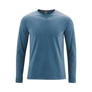 HUDSON Pánské tričko s dlouhými rukávy ze 100% biobavlny - modrá petrol