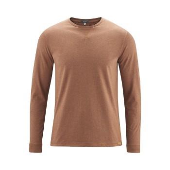 HUDSON Pánské tričko s dlouhými rukávy ze 100% biobavlny - oranžová rust