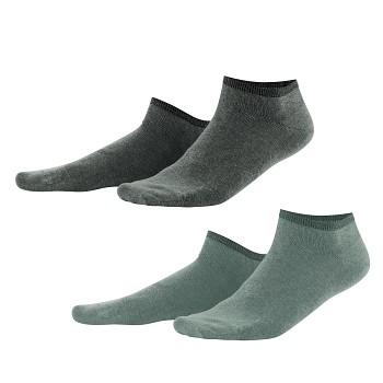 ENID unisex kotníkové ponožky z biobavlny - šedá/khaki (2 páry)