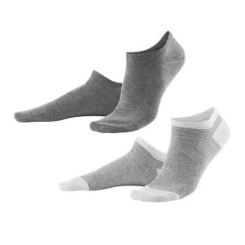 ABBY dámské kotníkové ponožky z biobavlny - šedá/bílá (2 páry)