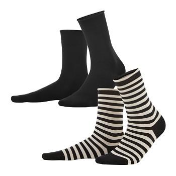 ALEXIS dámské ponožky z biobavlny - černá/přírodní (2 páry)
