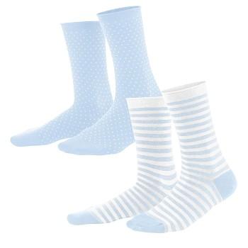 ALEXIS dámské ponožky z biobavlny - světle modrá/bílá (2 páry)