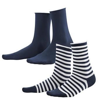 ALEXIS dámské ponožky z biobavlny - tmavě modrá/bílá (2 páry)