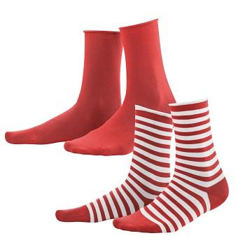 ALEXIS dámské ponožky z biobavlny - červená/bílá (2 páry)