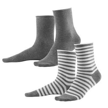 ALEXIS dámské ponožky z biobavlny - šedá/bílá (2 páry)