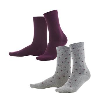 BETTINA dámské ponožky z biobavlny - fialová/šedá (2 páry)