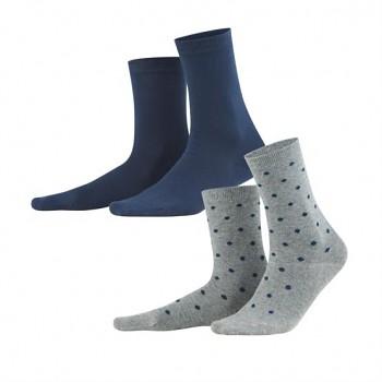 BETTINA dámské ponožky z biobavlny - modrá/šedá (2 páry)