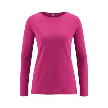 HILLA Dámské tričko s dlouhými rukávy ze 100% biobavlny - růžová winter