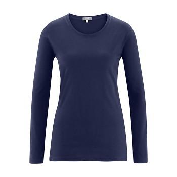 FIONA Dámské tričko s dlouhými rukávy ze 100% biobavlny - tmavě modrá navy