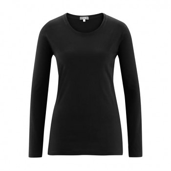 FIONA Dámské tričko s dlouhými rukávy ze 100% biobavlny - černá