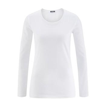 FIONA Dámské tričko s dlouhými rukávy ze 100% biobavlny - bílá