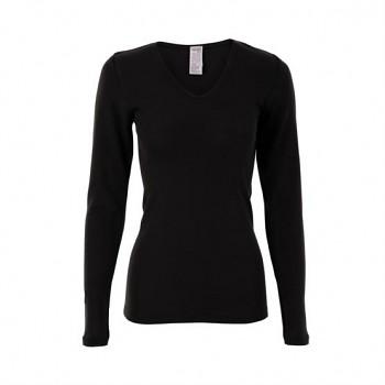 FELICIA dámský top s dlouhými rukávy z bio merino vlny a hedvábí - černá