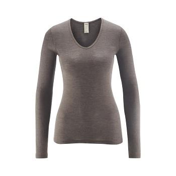 FELICIA dámský top s dlouhými rukávy z bio merino vlny a hedvábí - šedá uhlová