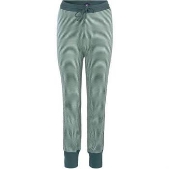AVELINE dámské pyžamové kalhoty ze 100% biobavlny - modrá petrol (proužek)