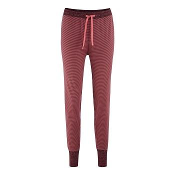 AVELINE dámské pyžamové kalhoty ze 100% biobavlny - červená barolo (proužek)