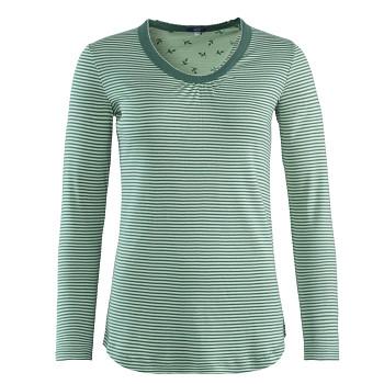 HAILY dámský pyžamový top s dlouhými rukávy ze 100% biobavlny - modrá petrol (proužek)
