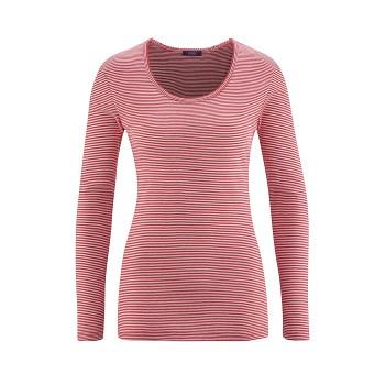 EMILY dámský pyžamový top s dlouhými rukávy ze 100% biobavlny - červená poppy