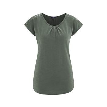 ELLENOR dámský pyžamový top ze 100% biobavlny - khaki