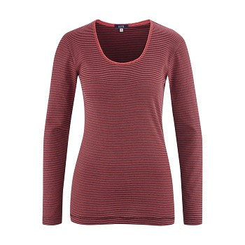 CHIARA dámský pyžamový top s dlouhými rukávy ze 100% biobavlny - červená barolo