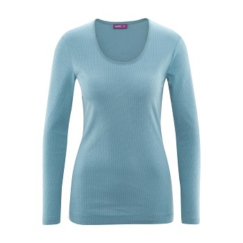 CHIARA dámský pyžamový top s dlouhými rukávy ze 100% biobavlny - světle modrá (puntík)