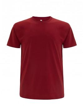 Pánské/unisex  tričko s krátkými rukávy z 100% biobavlny - tmavě červená