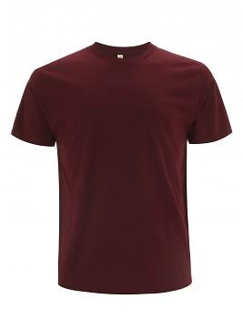Pánské/unisex  tričko s krátkými rukávy z 100% biobavlny - tmavě červená burgundy