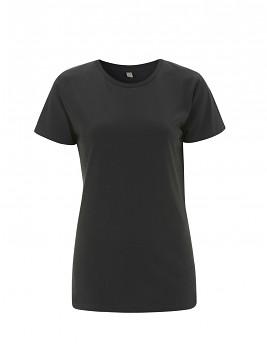 Dámské tričko s krátkými rukávy z 100% biobavlny - tmavě šedá