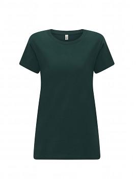 Dámské tričko s krátkými rukávy z 100% biobavlny - tmavě zelená bottle