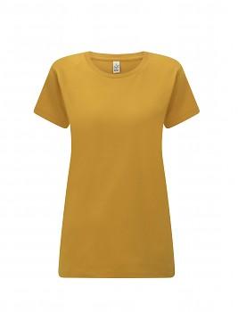 Dámské tričko s krátkými rukávy z 100% biobavlny - žlutá mango
