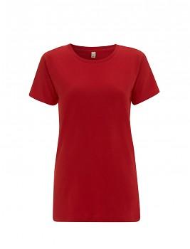 Dámské tričko s krátkými rukávy z 100% biobavlny - červená