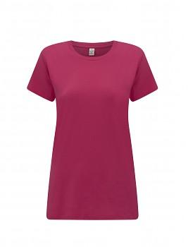 Dámské tričko s krátkými rukávy z 100% biobavlny - růžová bright