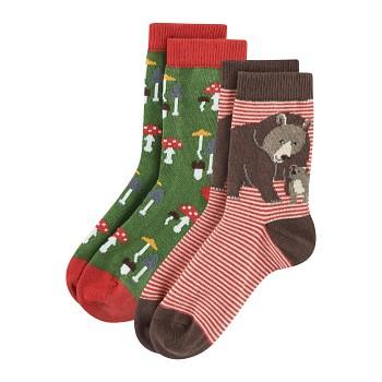 BEAR Dětské ponožky z biobavlny (2 páry)  - červená/zelená