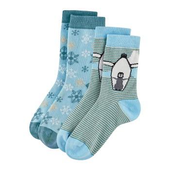 BEAR Dětské ponožky z biobavlny (2 páry)  - modrá / petrol