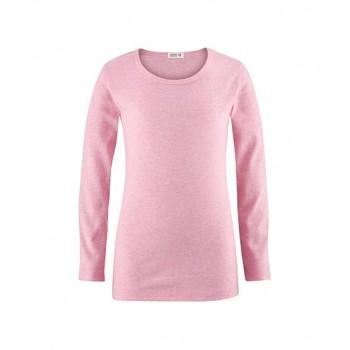HORSE unisex dětské tričko s dlouhými rukávy ze 100% biobavlny - růžová melange