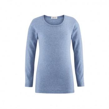 HORSE unisex dětské tričko s dlouhými rukávy ze 100% biobavlny - světle modrá melange
