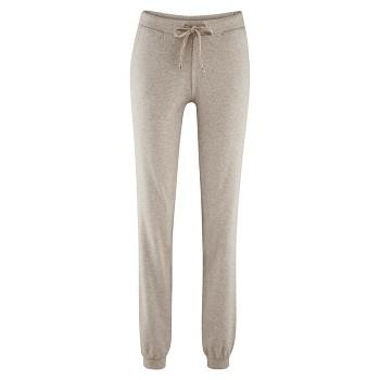BEA dámské teplákové kalhoty z biobavlny - šedá taupe melange