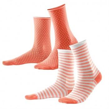 ALEXIS dámské ponožky z biobavlny - korálová/bílá (2 páry)