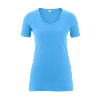 FRIEDA Dámské tričko s krátkými rukávy ze 100% biobavlny - světle modrá azurová