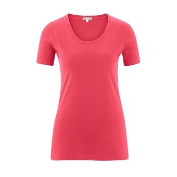 FRIEDA Dámské tričko s krátkými rukávy ze 100% biobavlny - růžová malinová