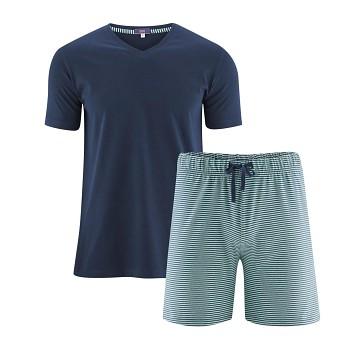 CARL pánské pyžamo pyžamo ze 100% biobavlny - modrá marine/zelená