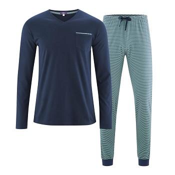COLIN pánské pyžamo pyžamo ze 100% biobavlny - modrá navy/zelená