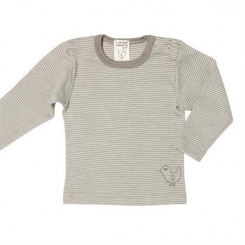 BIRDIE Kojenecké triko s dlouhými rukávy z bio merino vlny a hedvábí - béžová taupe proužek
