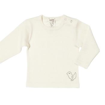 BIRDIE Kojenecké triko s dlouhými rukávy z bio merino vlny a hedvábí - přírodní