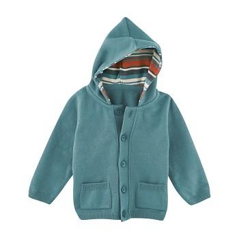 HUPPY Dětská bunda ze 100% biobavlny - šedozelená